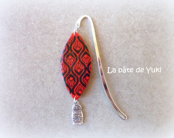Marzipan red black handmade polymer clay bookmarks