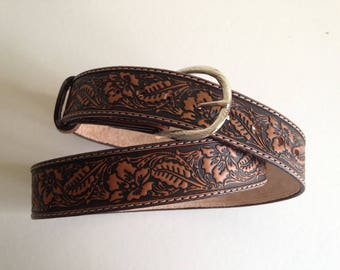 Tooled leather belt handcrafted pattern: floral sheridan Brown antique