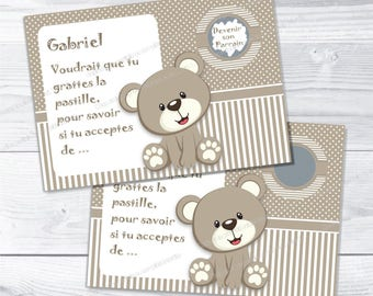 Request christening Godfather card scratch beige bear - christening