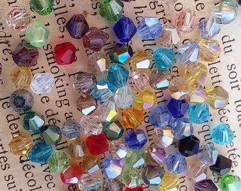 multi color bicone shape Swarovski type 100 beads