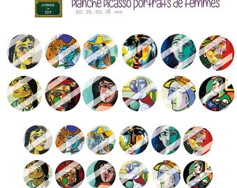 Collage sheet digital picasso to create round cabochons (18 30, 25, 20 mm)