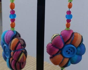 Flower Earrings/Colorful fabric hippie earrings