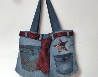 bag denim decorated with stars in silk and polyester tie