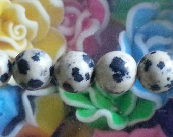 5 pearls chatter Dalmatian of 8mm diameter, hole 1 mm