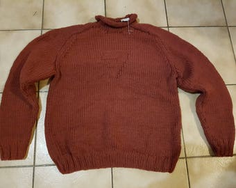 Sweater collar man rolled t. 48 / 50 hand knitted