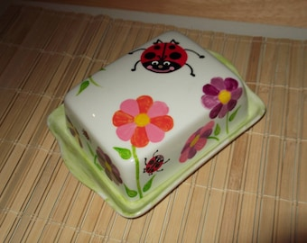 """butter dish white porcelain personalized"" the Ladybug Garden """