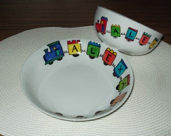 "Entire plate & Bowl painted ""train"" personalized"