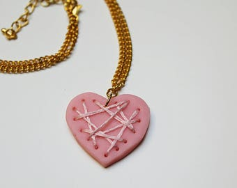 Necklace - Embroidered with polymer clay heart