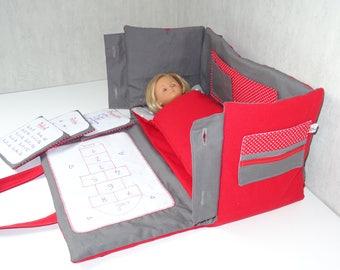 Sac-chambre pour poupée 33 cm (type Chérie Corolle) rouge et gris