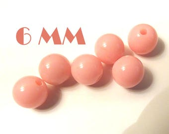 6mm 10 pastel pink acrylic beads ideal for creating