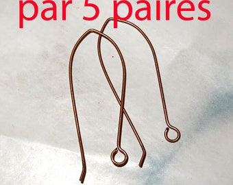 5 pairs long pure copper earrings, large dangle hoop to add a charm or stone