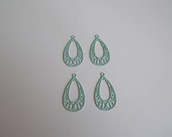 1 set of 4 charms or filigree pendants