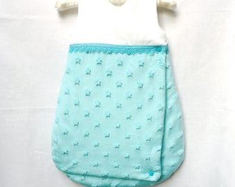 Sleeping bag 0-6 months in white and turquoise blue VELVET