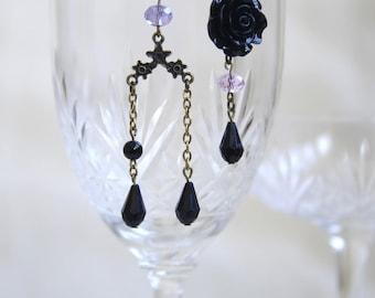 black elegant chic retro vintage pink asymmetry earring