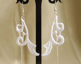 white wedding lace evening earring