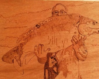 wood burning from a photo print