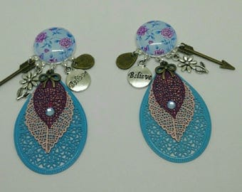 sky blue cabochon earrings with purple roses