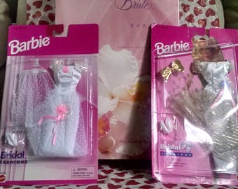 Blushing Orchid Barbie and Two Bridal Barbie Fashions