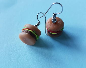 Polymer cheeseburger earrings