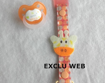 Fabric pacifier clip and orange and beige felt with its giraffe
