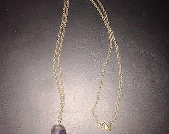 Amethyst and bronze, baroque necklace