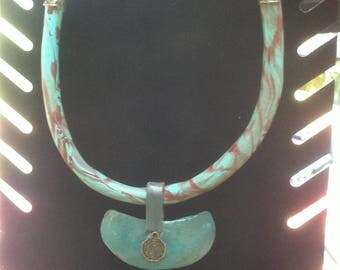 Turquoise and Brown torque necklace