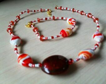 set (necklace and bracelet) colorful, modern, summer (red)