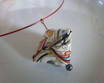 berlingot diamond multicolor fancy paper origami necklace