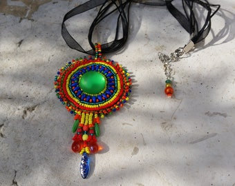 """The pendant is embroidered beaded """"Colors"""""""