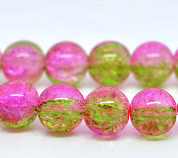 Set of 5 cracked purple glass beads & clear - 10 mm