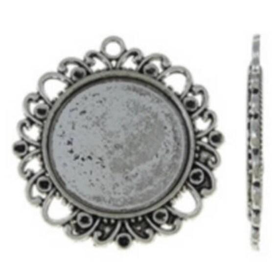 Support Cabochon retro 25 mm silver color