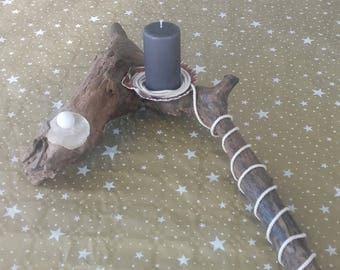 Driftwood stump candle holder