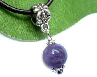 Silver plated - Amethyst sphere pendant
