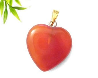 Heart pendant plated gold - carnelian