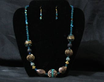 Teal and bronze w/gold neckless/earring set