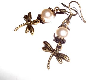 Earrings in bronze and Pearl Dragonfly Pearl collection