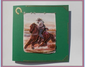 44 3d horse rodeo in plain greeting card
