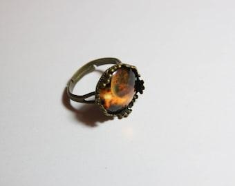Nice fine cabochon 14 mm Adjustable ring