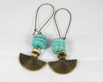 beautiful earrings ethnic turquoise stone of reconstituted and bronze metal