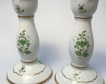 Beautiful pair of  hand painted Hungarian Hollohaza candle holders.