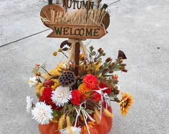 Autumn Floral Pumpkin