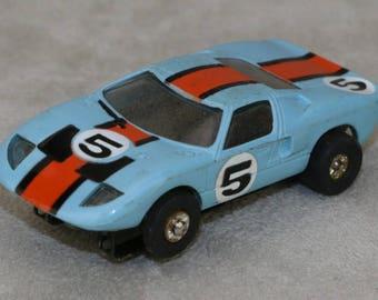 Aurora T-Jet HO Slot Car Thunderjet No.1494 Ford GT40 Flamethrower Lt Blue B