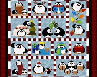 Penguin Cheer, applique pattern