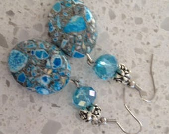 Blue crystal earrings, matching bracelet also available.