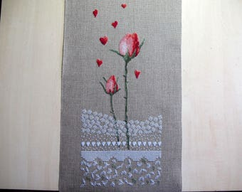 Two roses cross stitch Embroidery