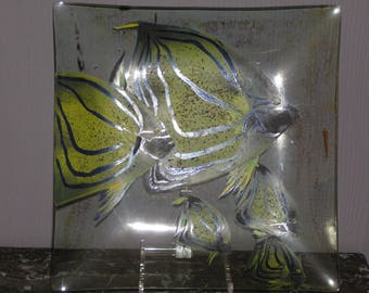 Cut glass painted with yellow fish