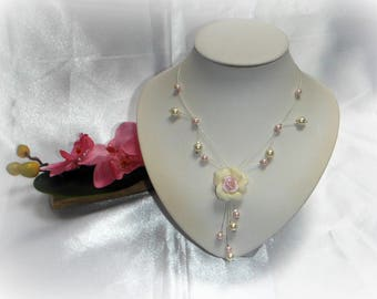 D - Light pink and ivory GARDENIA wedding necklace