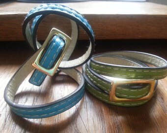 Bracelet adjustable leather (green)