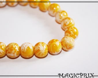 SET of 85 beads glass marbled yellow Ø 10 mm m2298