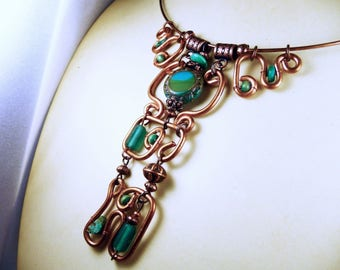 Necklace beads and copper green turquoise